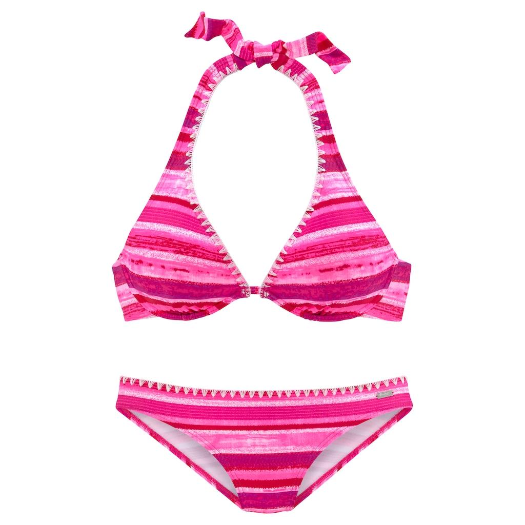 Buffalo Bügel-Bikini, in Batik-Optik und mit Häkelkante