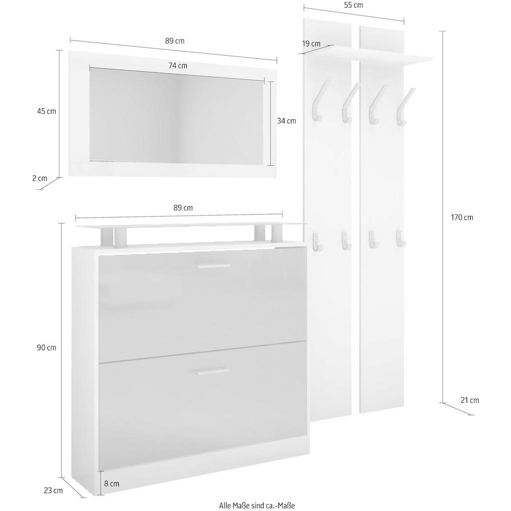 borchardt Möbel Garderoben-Set »Finn«, (Set, 3 St.), mit Glasablage
