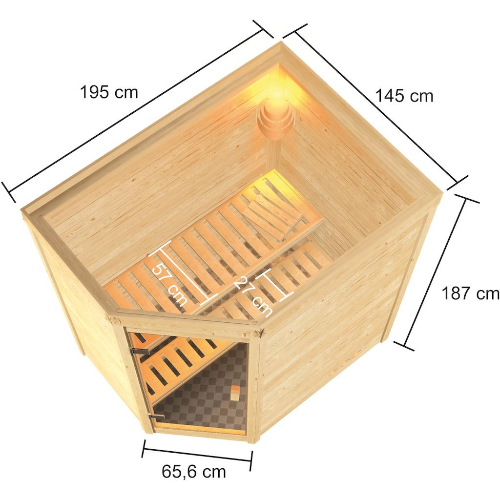 Karibu Sauna »Juli«, 3,6-kW-Plug & Play Ofen mit int. Steuerung