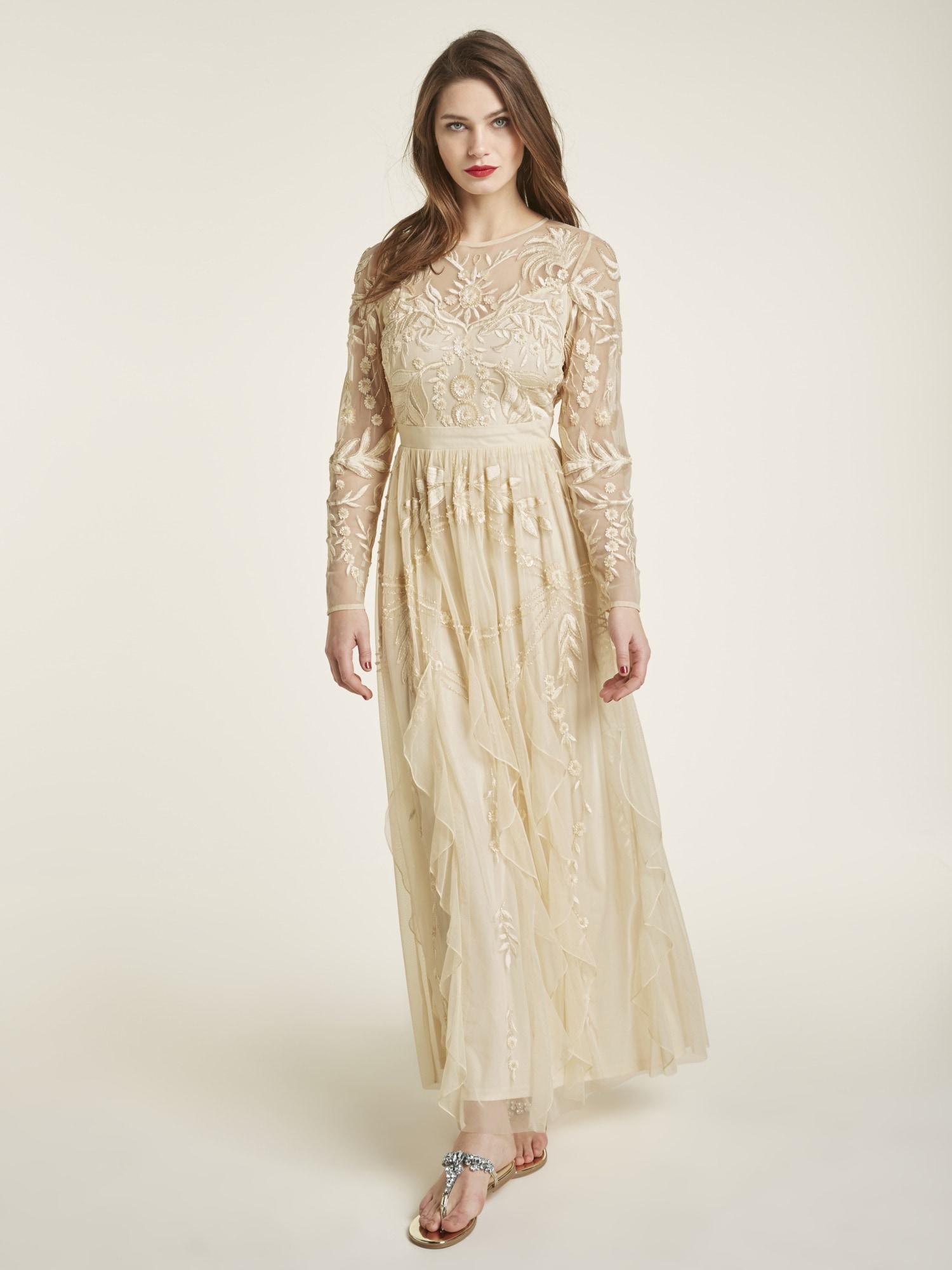 heine style abendkleid mit hochwertiger blumenstickerei
