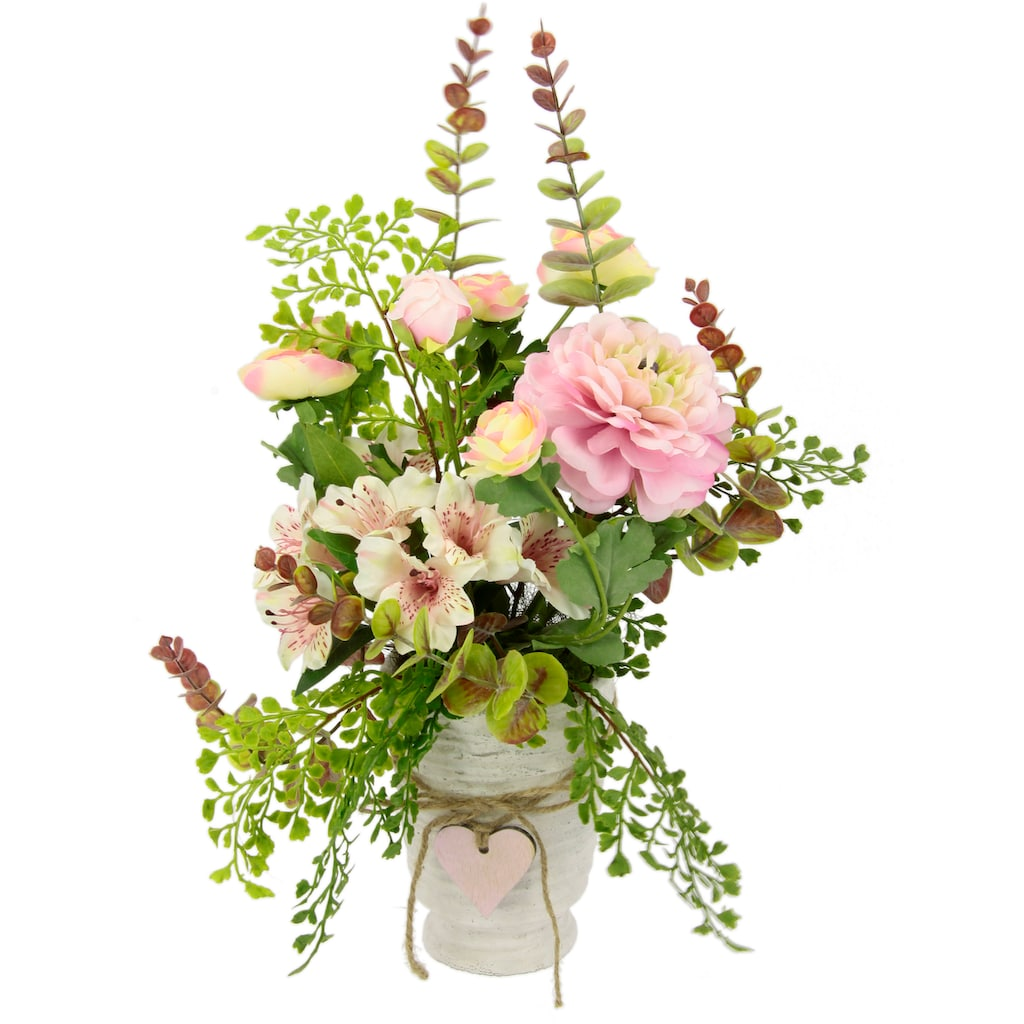 I.GE.A. Kunstblume »Arrangement Blüten/Ranunkel«, Topf aus Keramik