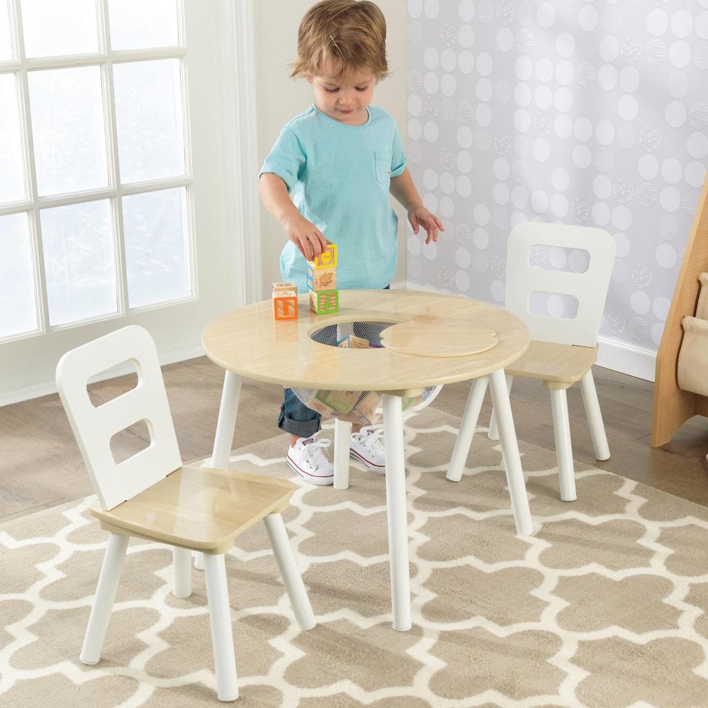 KidKraft® Kindersitzgruppe »Runder Aufbewahrungstisch«, (3 tlg.)
