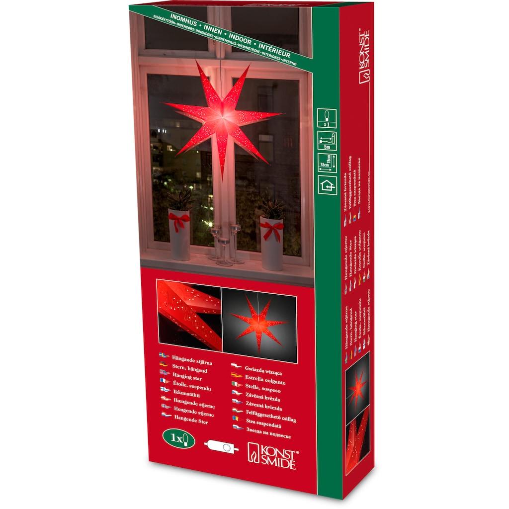 KONSTSMIDE LED Stern, E14, aus Papier, perforiert und rot bestickt mit 7 Zacken
