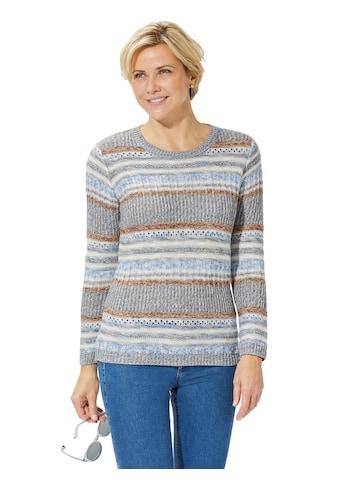 Casual Looks Pullover im melierten Mix aus Struktur -  und Ajourmuster kaufen