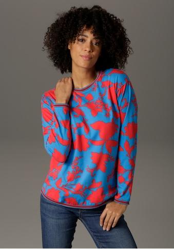 Aniston CASUAL Sweatshirt, mit graphischen Blumendruck - NEUE KOLLEKTION kaufen