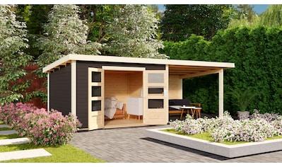 KARIBU Set: Gartenhaus »Edersee 4«, BxT: 651x303 cm, mit Anbaudach kaufen