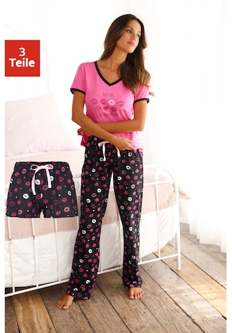 Vivance Dreams Pyjama, (3 tlg.), mit Kussmund Print kaufen