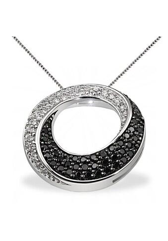 goldmaid Collier Silber 925 schwarz weisse Zirkonia gedrehte Form kaufen