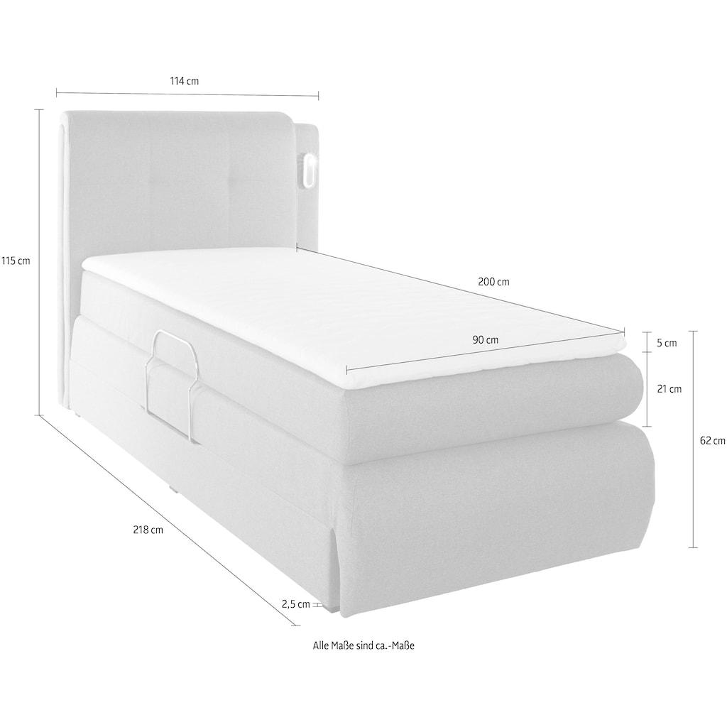 COLLECTION AB Boxspringbett »Borna«, inklusive Bettkasten, LED-Beleuchtung und Topper
