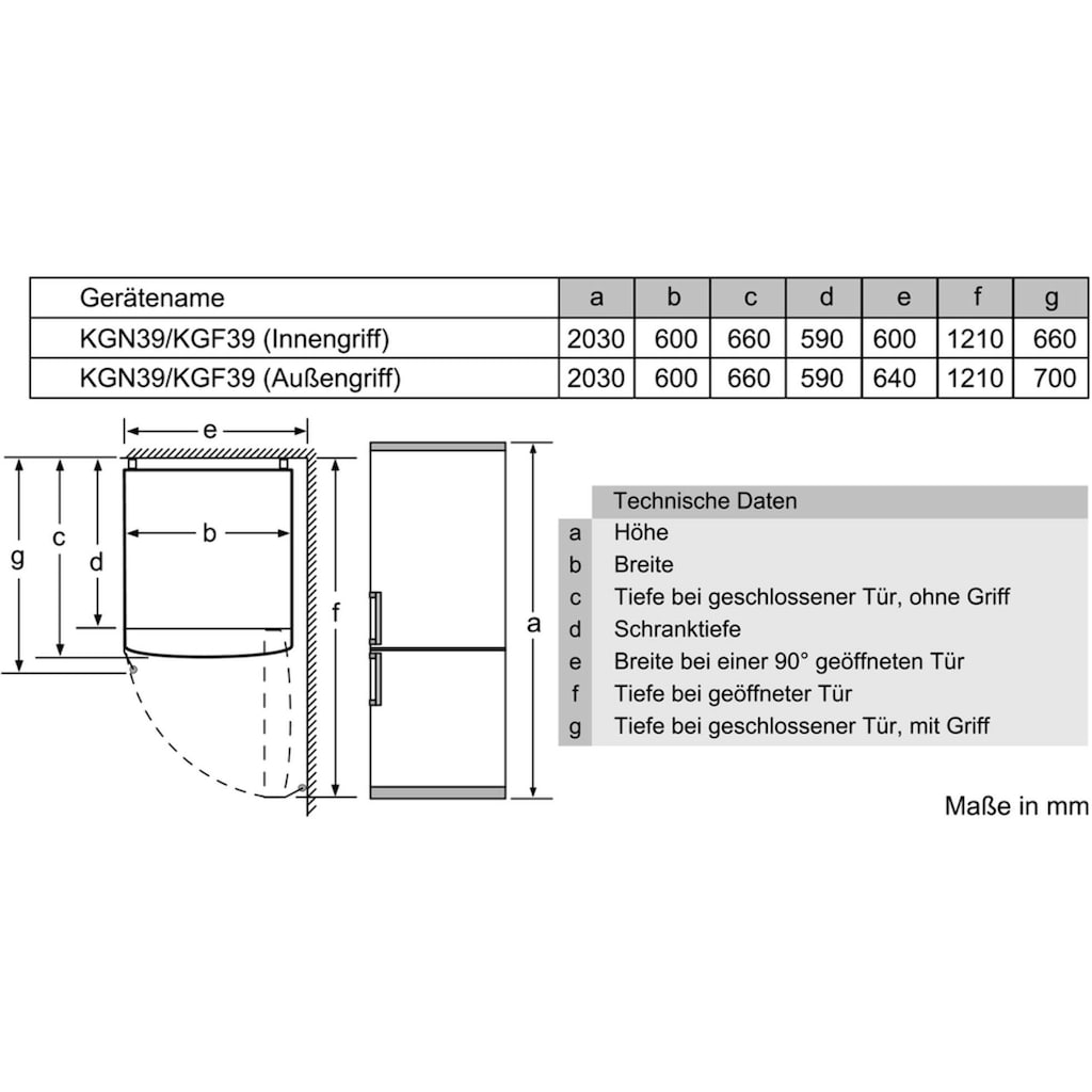 BOSCH Kühl-/Gefrierkombination »KGN39VLEA«