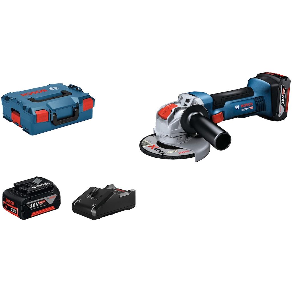 Bosch Professional Akku-Winkelschleifer »GWX 18V-8 (2x 5.0Ah, GAL 18V-40, L)«, mit 2 Akkus und Ladegerät