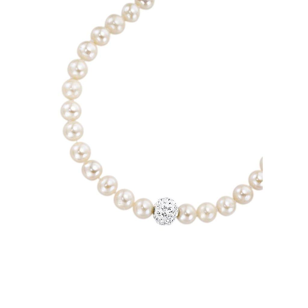 Firetti Collier, mit Kristallen und Süßwasserzuchtperlen - perfekt als Brautschmuck!