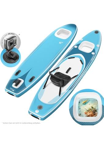 Sportstech Inflatable SUP-Board »WBX_AQUEMINI«, (Set, 9 tlg., mit Paddel, Pumpe, Transportrucksack und Sitz), Sichtfenster kaufen