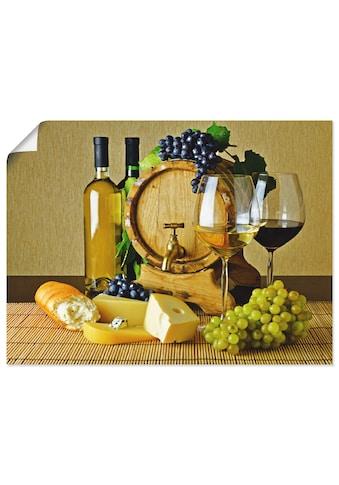 Artland Wandbild »Käse, Wein und Trauben«, Lebensmittel, (1 St.), in vielen Größen &... kaufen