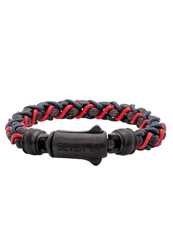 SEVEN-24 Armband »SEVEN-24,MS,ARMBAND,STAHL SCHWARZ,LEDER BLAU-ROT,M/L, SVMS015-M,... kaufen
