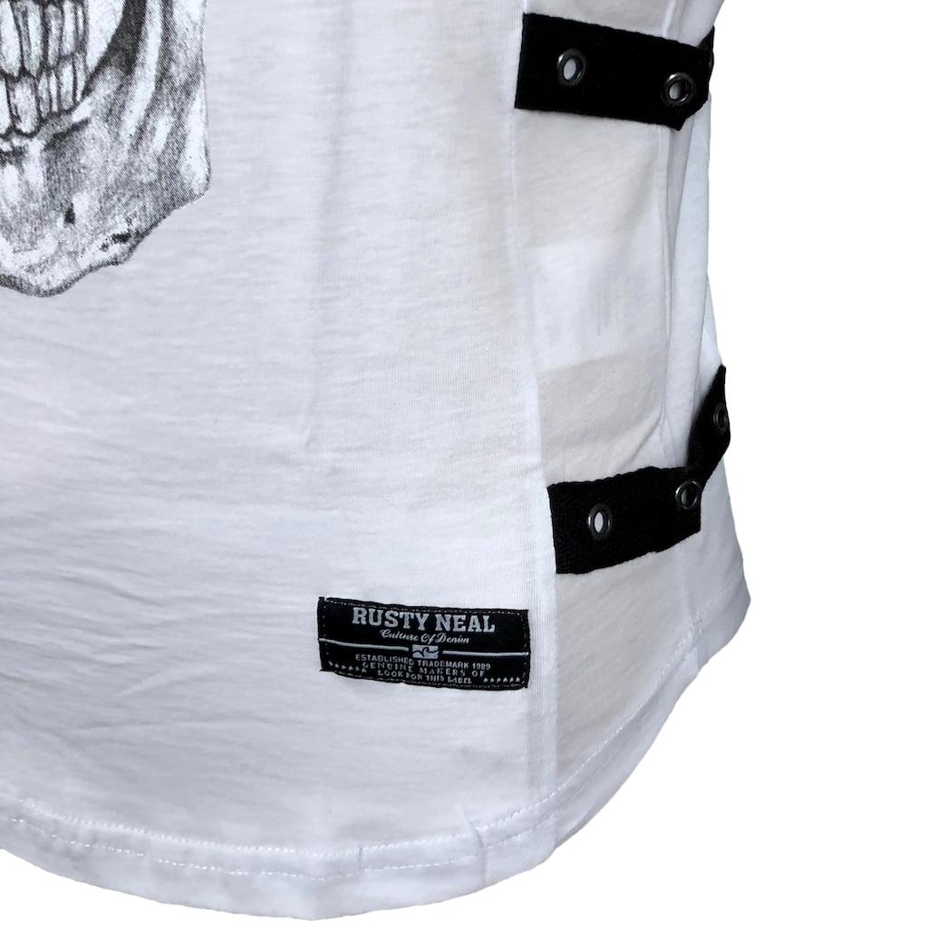 Rusty Neal T-Shirt mit coolem Totenkopf-Druck auf der Front