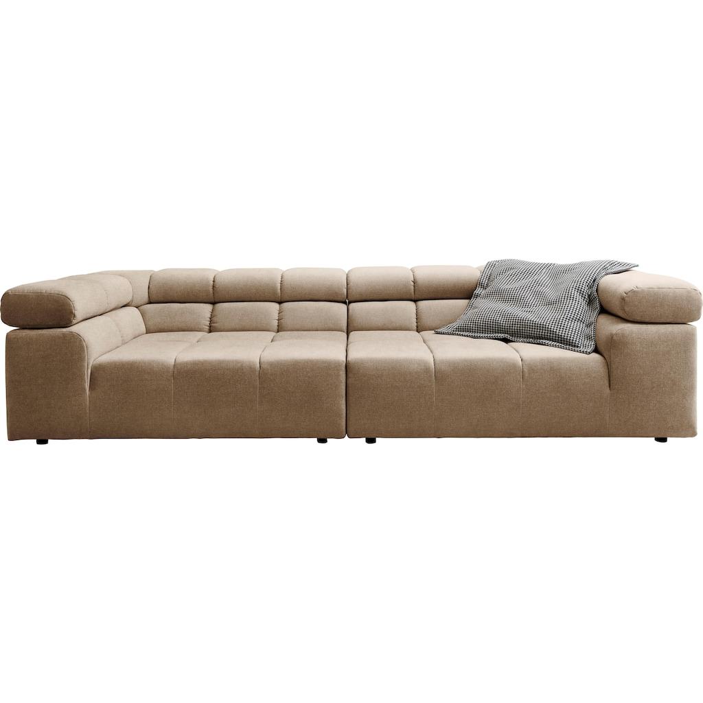 INOSIGN Big-Sofa »Ancona«, mit auffälliger Steppung, inkl. 2 Zierkissen und verstellbaren Kopfstützen