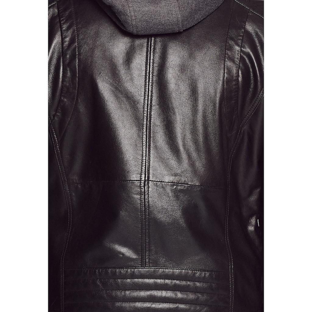 MUSTANG Lederjacke »3102052«, mit Kapuze