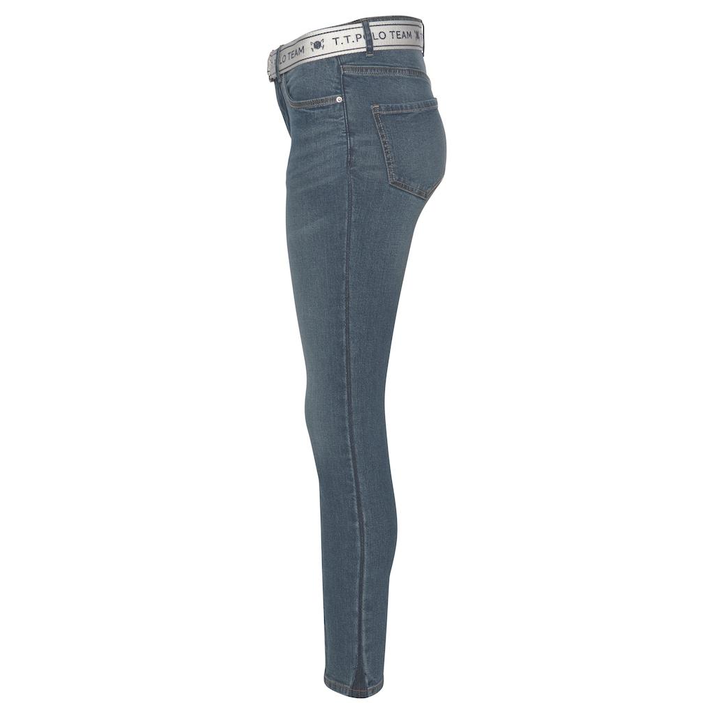TOM TAILOR Polo Team Slim-fit-Jeans, (Set, 2 tlg., mit abnehmbarem Gürtel), mit sportivem Logo-Gürtel