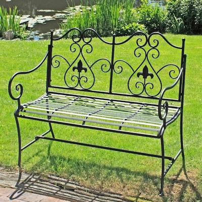 romantische, verschnörkelte Gartenbank aus Eisen