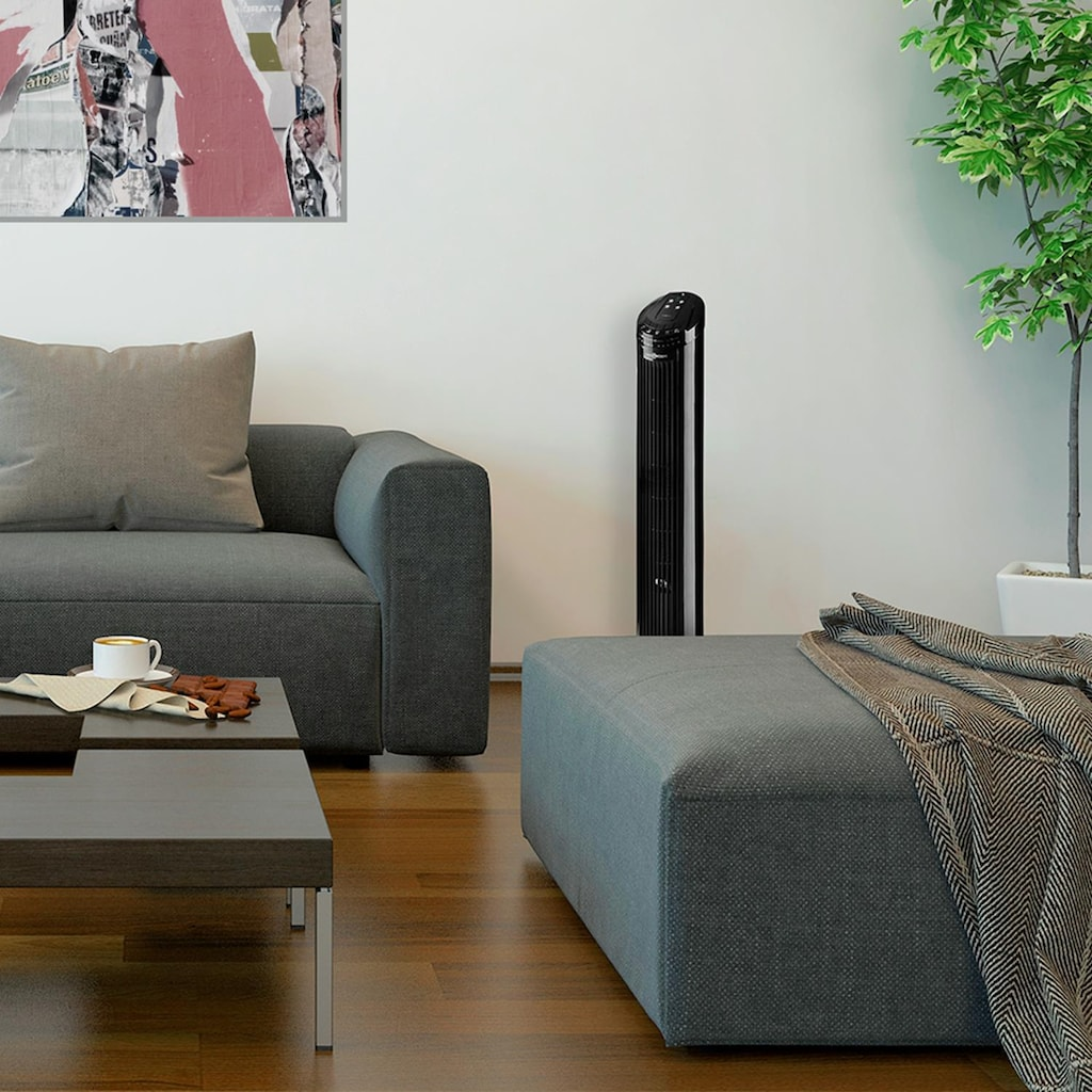 ONECONCEPT Säulenventilator Standventilator 50W 45° Oszillation schwarz »Blitzeis«
