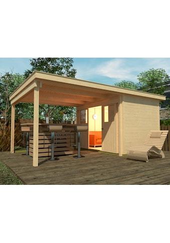 WEKA Set: Gartenhaus »Loungehaus Gr.3«, BxT: 619x336 cm, inkl. Anbaudach und Fußboden kaufen