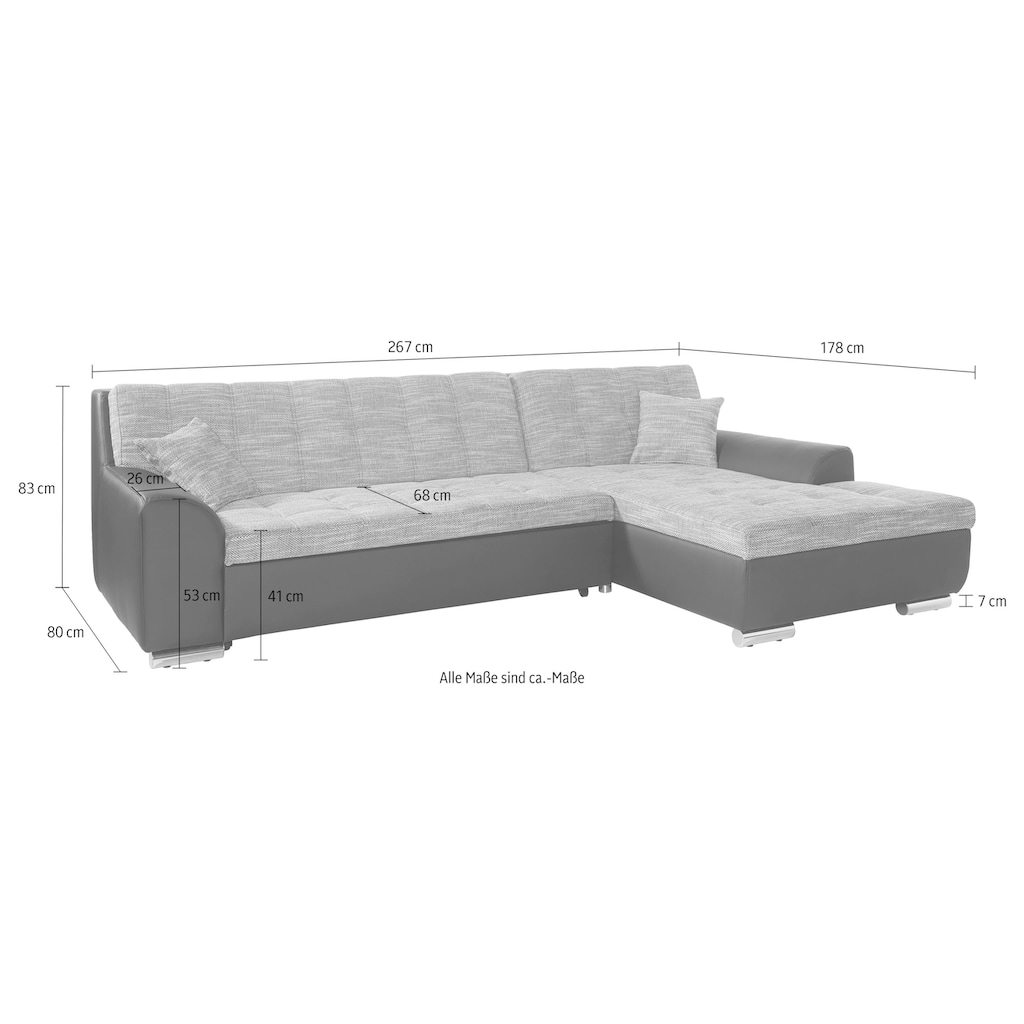 DOMO collection Ecksofa »Treviso«, wahlweise mit Bettfunktion