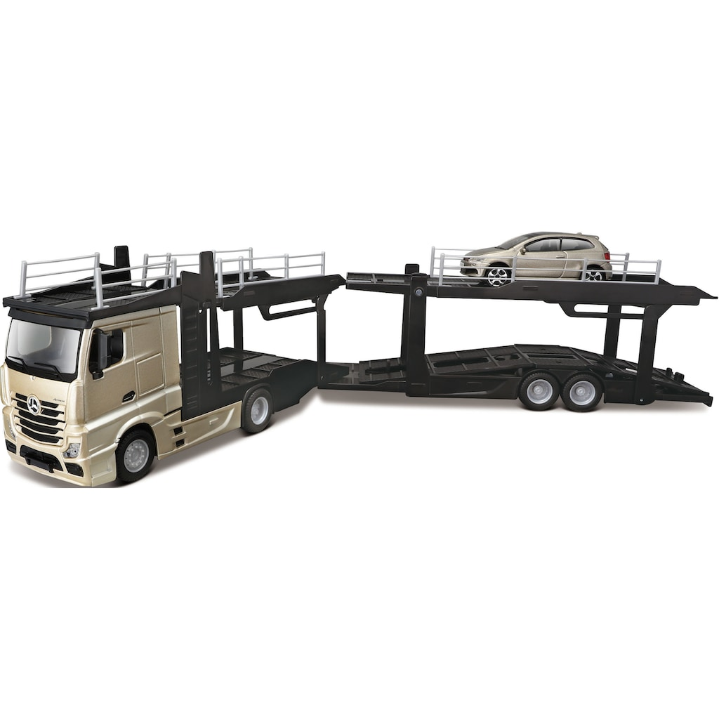 Bburago Spielzeug-Transporter »StreetFire MB Actros Autotransporter«, inklusive Spielzeugauto