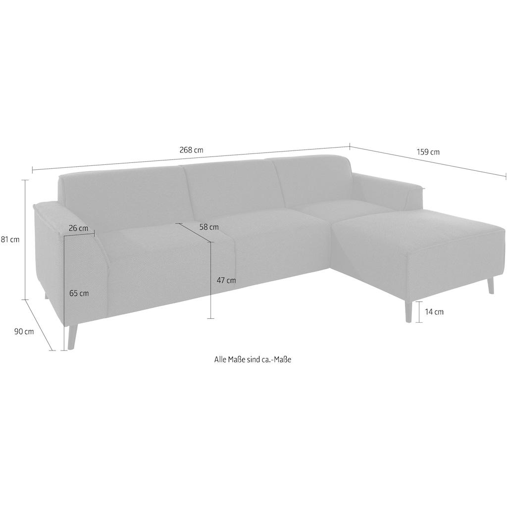 DOMO collection Ecksofa »Amora«, mit Recamiere, inklusive komfortablem Federkern