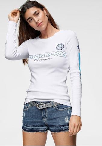 KangaROOS Langarmshirt, mit Druck und Streifen am Ärmel kaufen