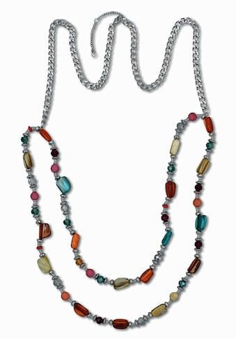 J.Jayz Lange Kette »bunte Elemente, teilweise mehrreihig«, mit Glassteinen kaufen