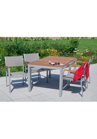 MERXX Gartenmöbelset »Naxos«, 7 - tlg., 6 Sessel, Tisch 90x150 cm, stapelbar, Akazie/Textil kaufen