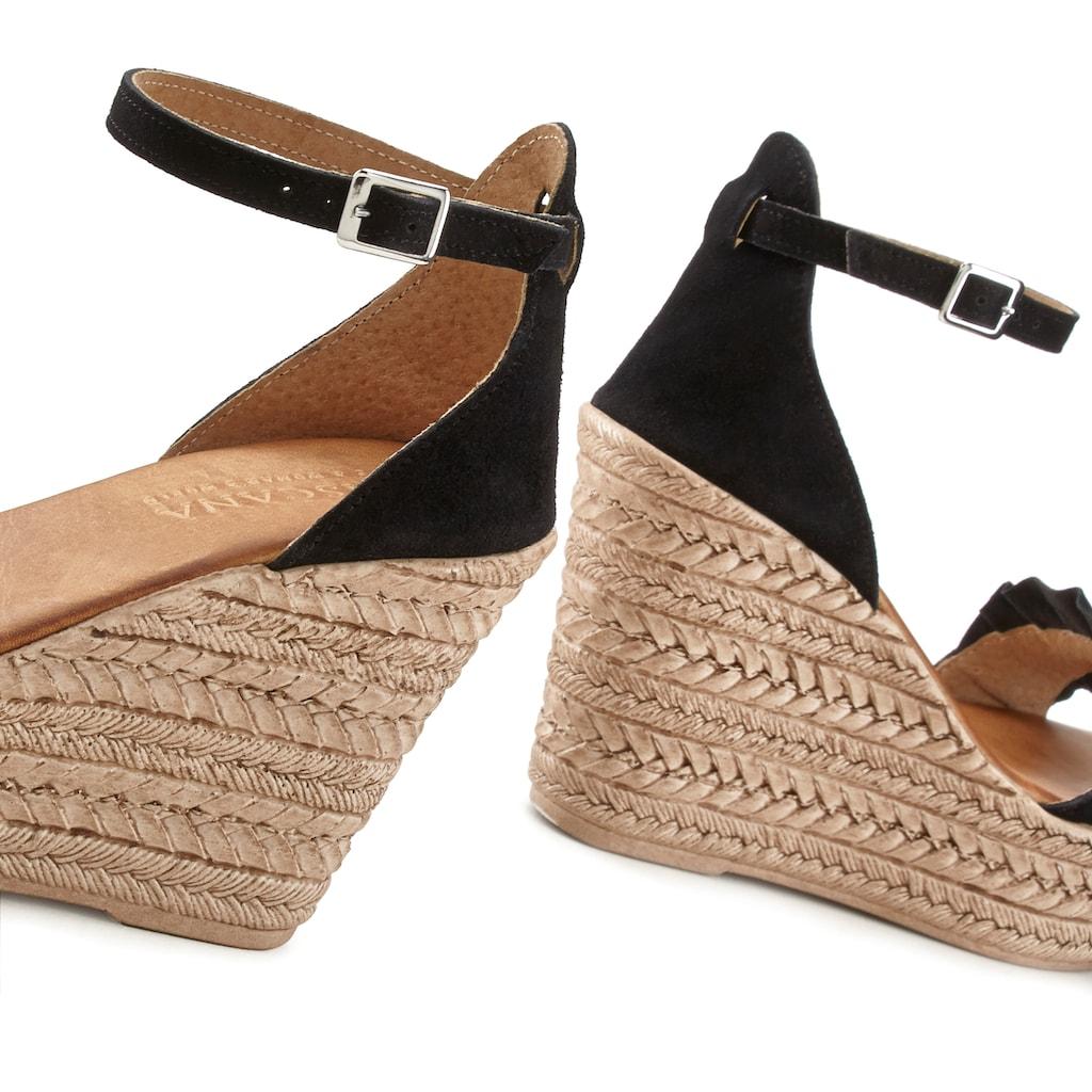 LASCANA Sandalette, aus Leder mit Keilabsatz