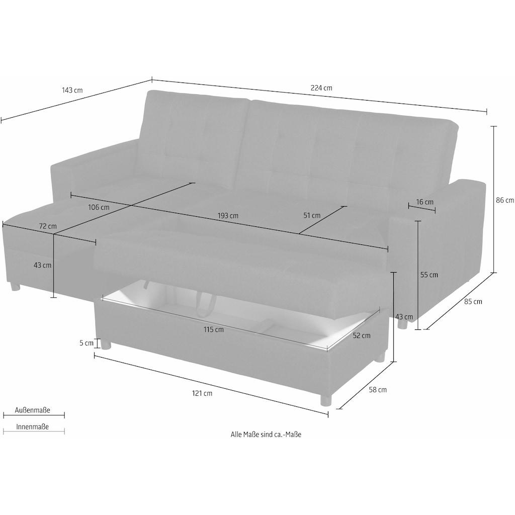 Max Winzer® Schlafsofa »Miko«, mit Rückenverstellung, inklusive Stauraumhocker