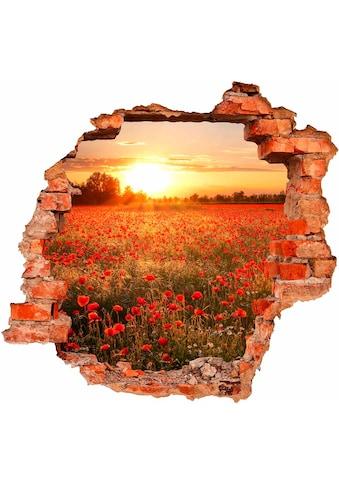 Wall-Art Wandtattoo »Mohnfeld im Sonnenuntergang« kaufen