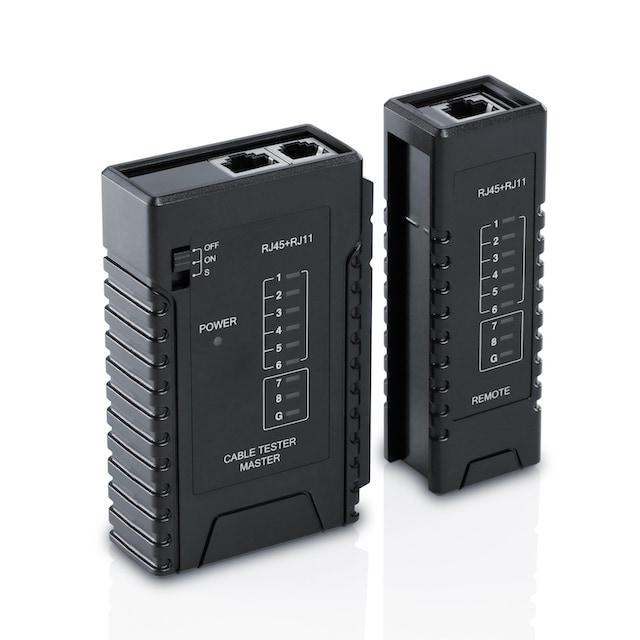 CSL Netzwerk Kabeltester für RJ45 & RJ11 Kabel »Testen von Leitungen in Böden, Wänden & Decken«