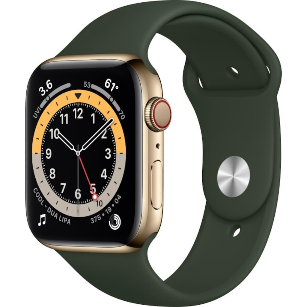 Apple Smartwatch »Series 6, GPS + Cellular, Edelstahl-Gehäuse, 44 mm mit Sportarmband«, (Watch OS)