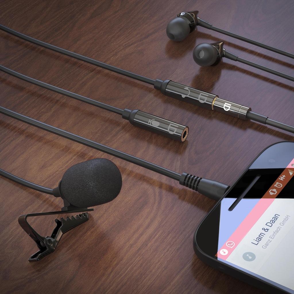 LIAM&DAAN Ansteckmikrofon mit Popschutz für Smartphone & Tablet »Lavalier Mikrofon«