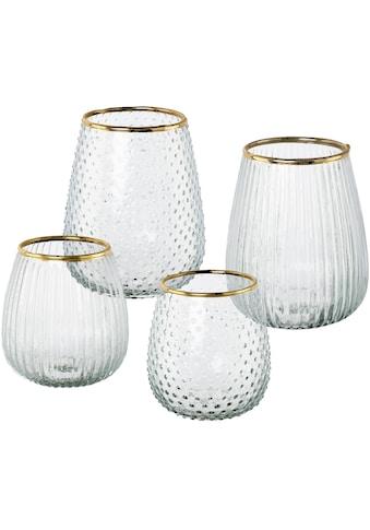 Leonique Windlicht »Juline«, aus Glas, mit goldfarbenem Rand kaufen