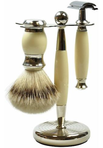 Golddachs Rasierset, mit klassischem Rasierhobel und Pinsel (Zupfhaar) kaufen