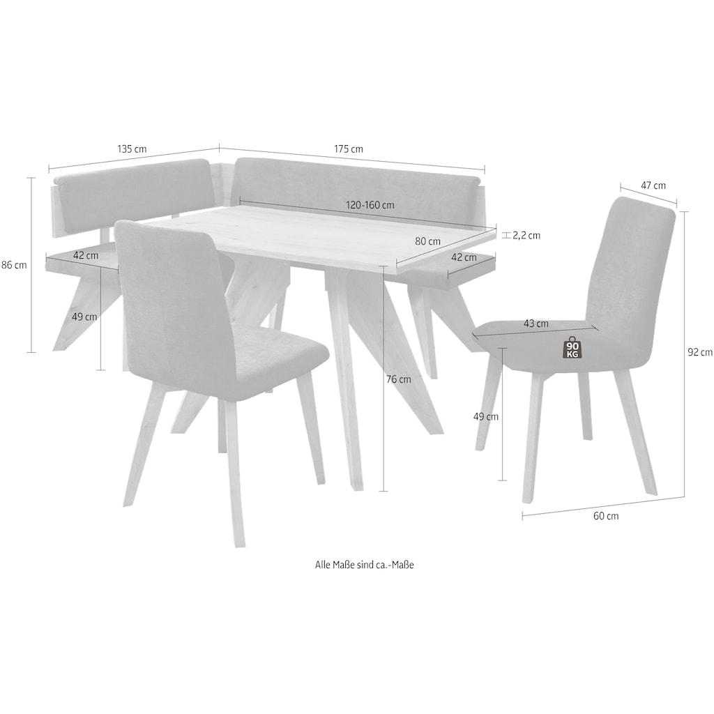 SCHÖSSWENDER Eckbankgruppe »Maia«, (4 tlg.), Eckbank ist umstellbar, Tisch mit Auszug