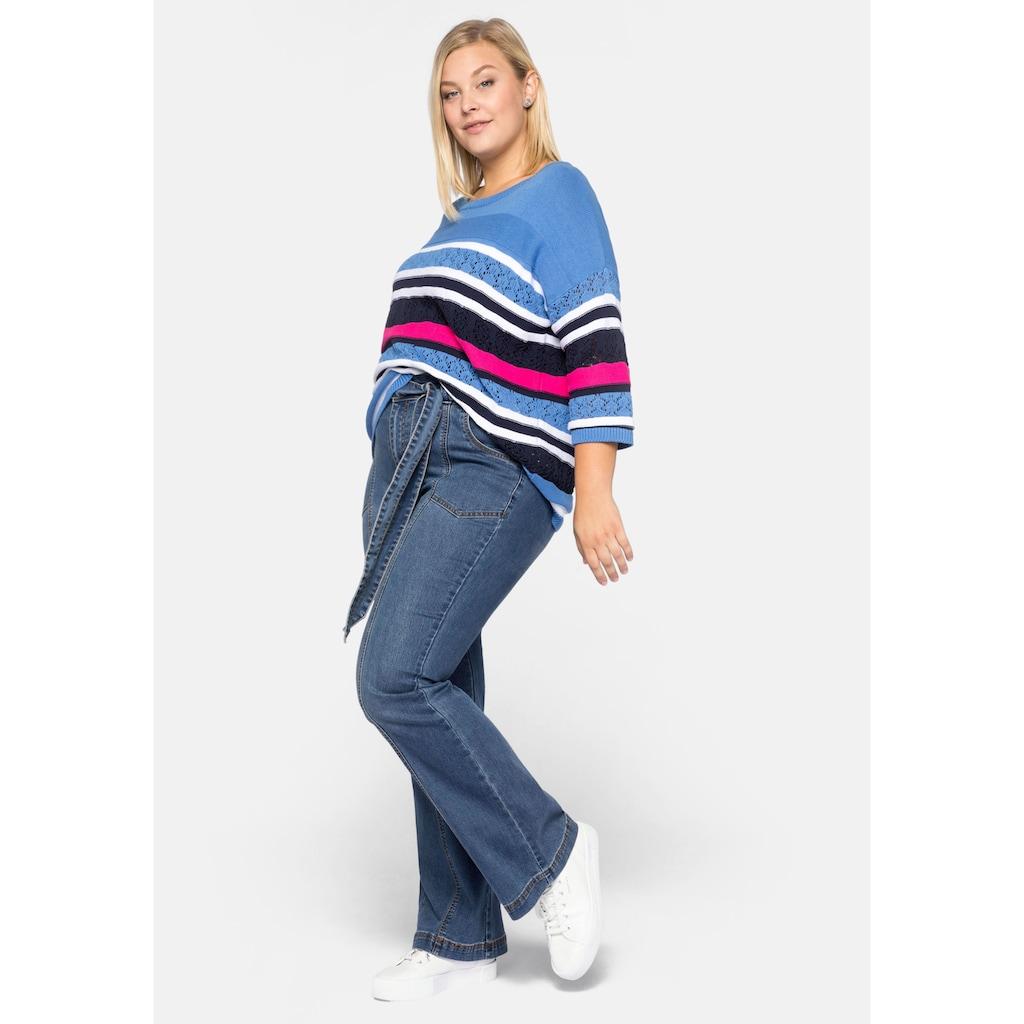 Sheego Stretch-Jeans, Schlagjeans mit High-Waist-Bund