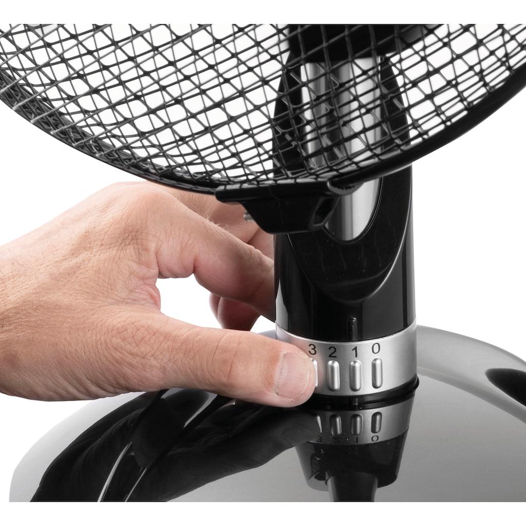 bestron Tischventilator »ADF30DZ«, mit integriertem Steuerungsring, 3 Geschwindigkeitsstufen und horizontale Oszillation um 80°, Höhe: 39 cm, Ø 35 cm, 45 W, Schwarz