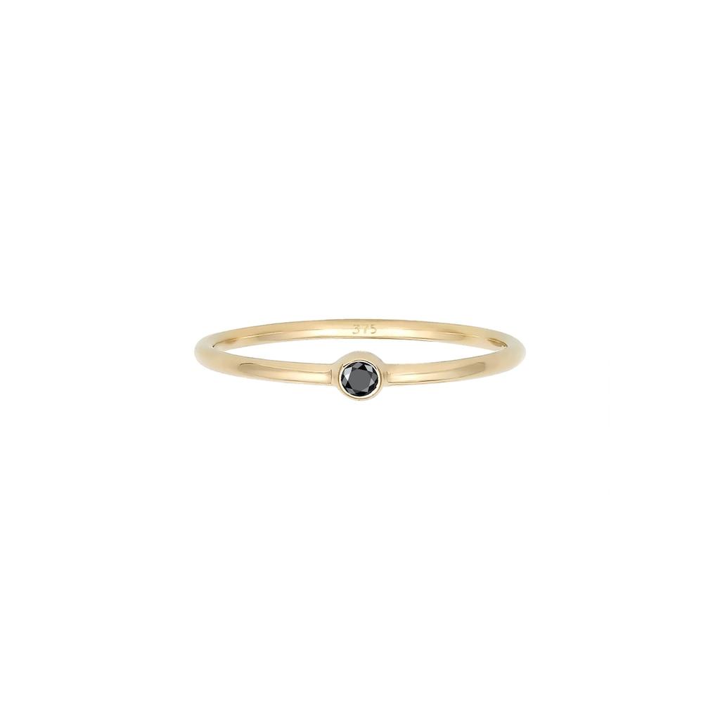 Elli Verlobungsring »Solitär Schwarzer Diamant (0.03 ct) 375er Gelbgold«