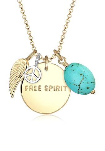 Elli Collierkettchen »Free Spirit Flügel Peace Türkis 925 Silber« kaufen