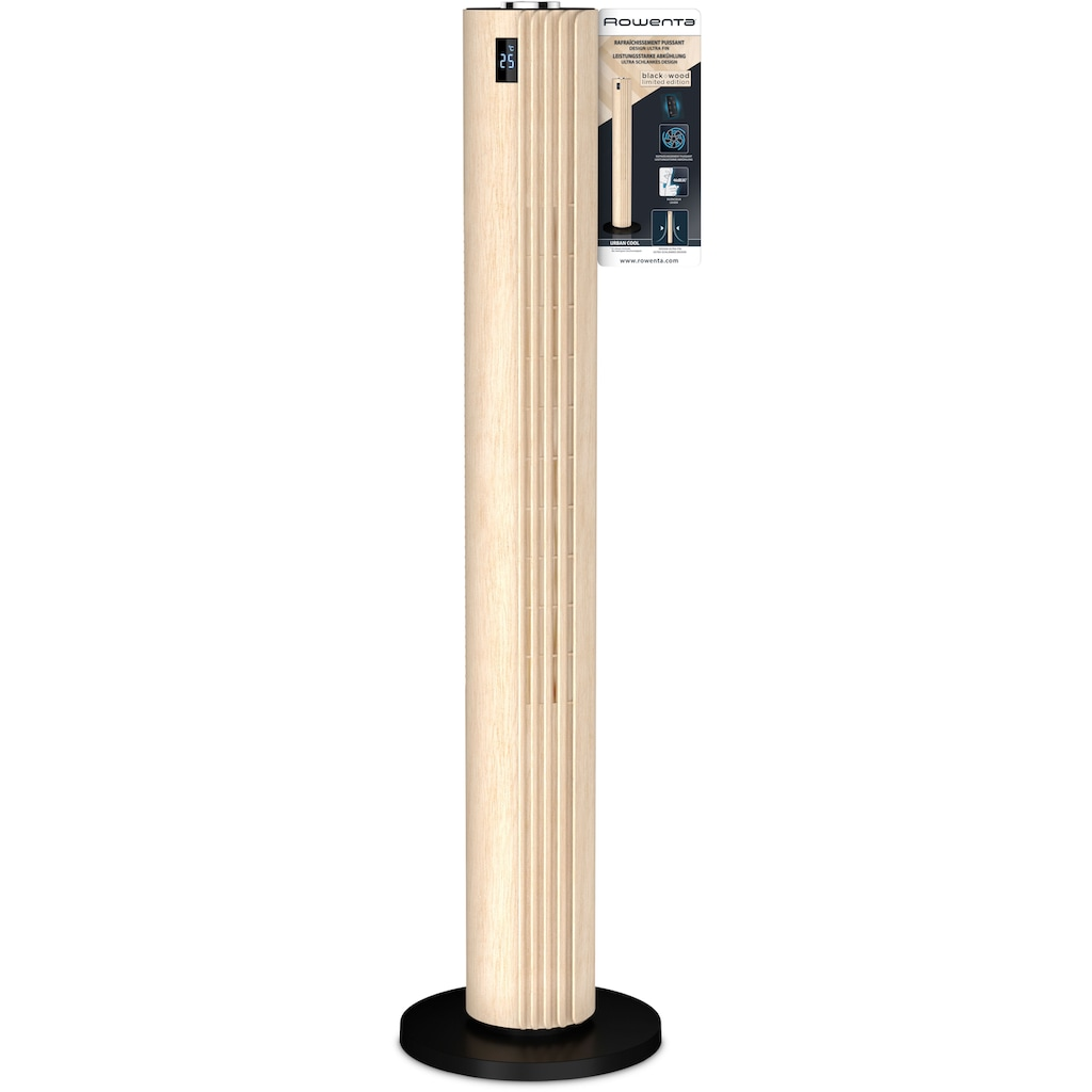 Rowenta Turmventilator »Urban Cool VU6770«, Holzoptik; 3 Geschwindigkeiten; Automatische Oszillation; Fernbedienung; Timer; Auto-Modus