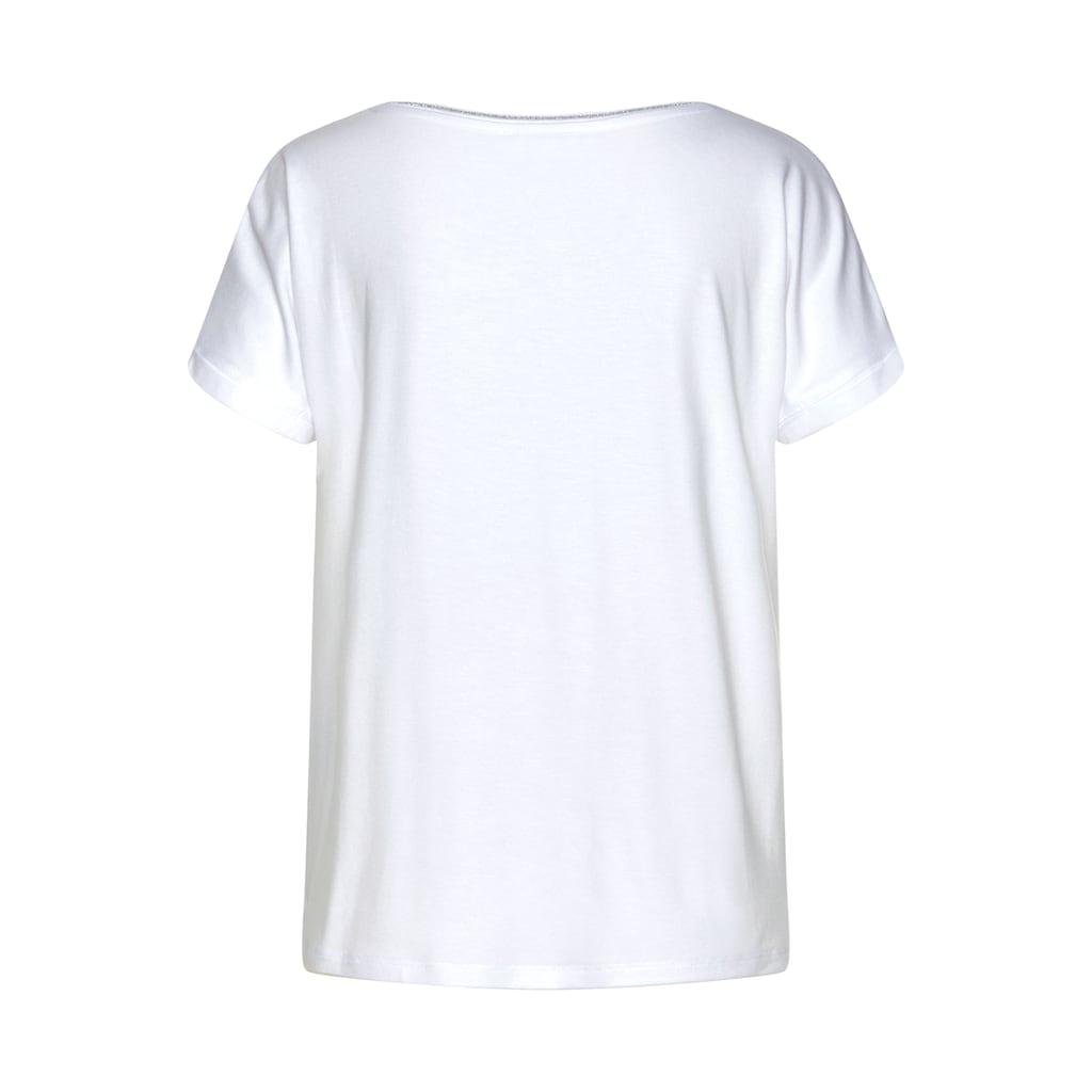 STREET ONE Blusenshirt »Landa«, uni und gepunktet, mit Glitzerdetails