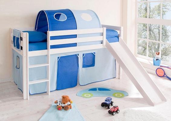 weißes Hochbett mit Rutsche, Tunnel und Vorhängen in Blau