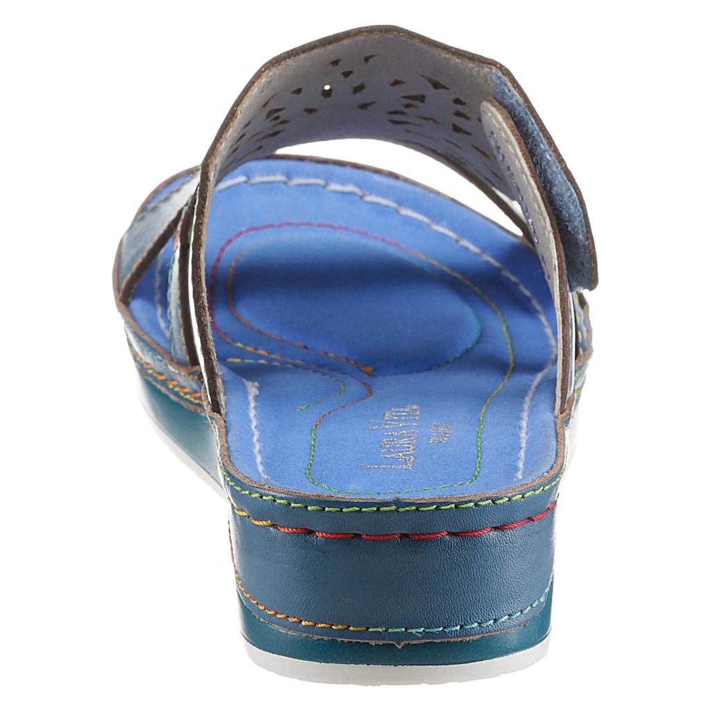 LAURA VITA Pantolette »BRCUELO 8121«, mit farbenfroher Applikation