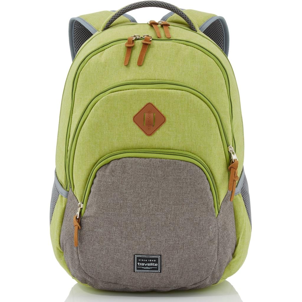 travelite Cityrucksack »Basics Melange, grün/grau«, mit Laptopfach